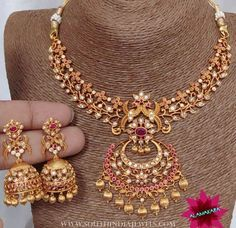 """984 Likes, 22 Comments - South India Jewels (@southindia_jewels) on Instagram: """"Imitation necklace and jhumka from @alamakara . For inquiries please contact the seller below.…"""""""