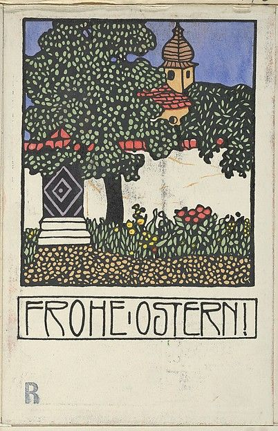 Happy Easter! (Frohe Ostern!)  Carl Krenek (Austrian, 1880–1948) Publisher: Wiener Werkstätte Date: 1909 Medium: Color lithograph Dimensions: Sheet: 5 1/2 × 3 9/16 in. (14 × 9 cm)