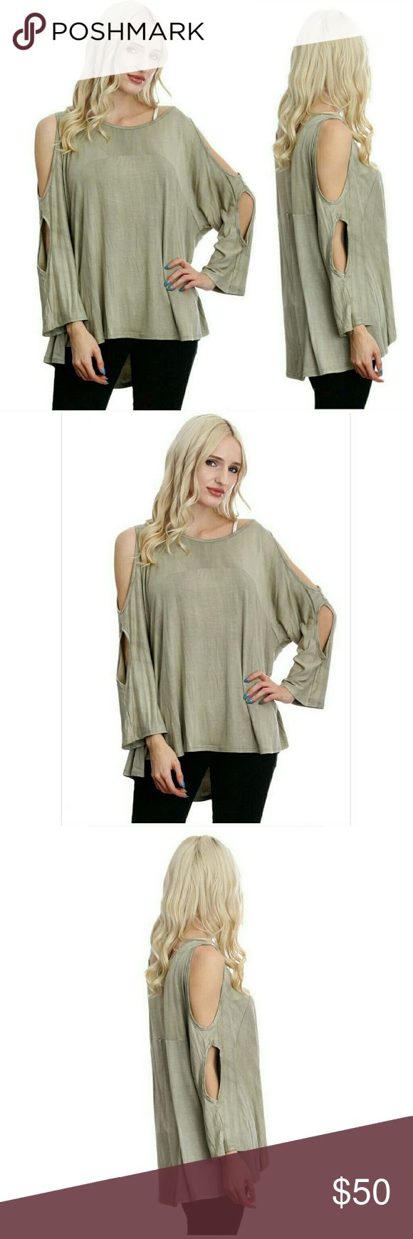 ⭐NEW! Gorgeous Olive Cut Out Blouse Absolutely Gorgeous!   Olive  Scoop Neck  Unique cut out sleeve design Beautiful Quality Fabric  95% Rayon  5% Spandex  Made in the U.S.A. 🇺🇸 S-M-L   NWOT Directly From Vendor   ▪ Price is Firm  ▪ No Trades  ▪ Fast Shipping Moda Ragazza  Tops Tunics