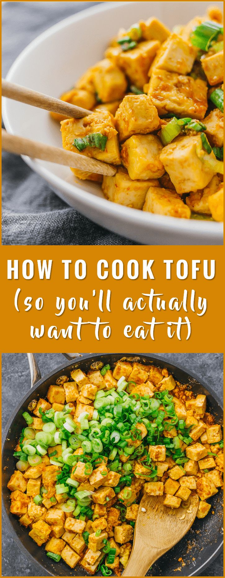Learn how to cook tofu in a pan with a delicious sauce using this very simple recipe. vegetarian, baked, healthy, scramble, crispy, fried, stir fry, marinade, tacos, nuggets, bbq, spicy, in oven via @savory_tooth