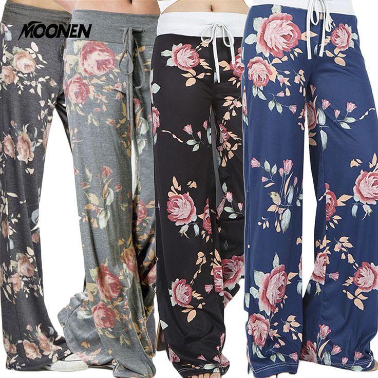 S-3XL Plus Size National Cotton Wide Leg Yoga Pants Drawstring Mid Waist Floral Printed Loose Yoga Trousers Women