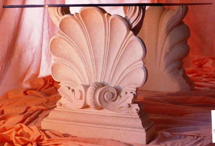 table in italian Vicenza limestone with glass top - design by Garden Ornaments Stone srl - www.gardenorn.com