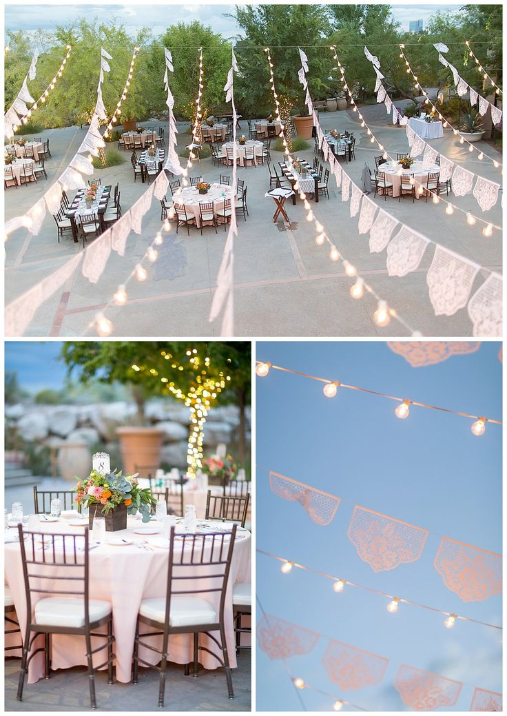 Las Vegas Wedding Planner, bistro lights, Springs Preserve wedding, papel picado, white papel picado, mixed table reception, napa table, farm table, coral linen, chiavari chairs, maraca escort cards