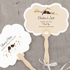 Love Bird Hand Fan, $1.42  love bird wedding ideas, love bird wedding decorations....could use these as programs. Have the wedding date and such printed on the front & the back could be where the program for the ceremony.
