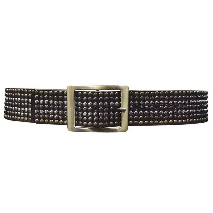 AM-413 Brown studded belt with brass buckle.