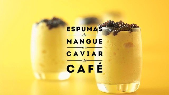 JAUNE by Carte Noire : Espumas de mangue au caviar de café by ))) datafone. Recette #1JAUNE