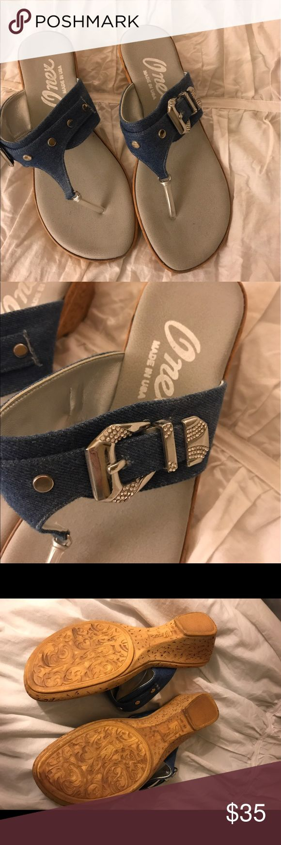 Onex sandals Onex sandals in denim blue with rhinestones and buckle. Worn once. Excellent condition . Make me an offer! onex Shoes Sandals