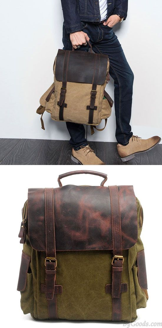 So cool backpack! Retro Handmade Outdoor Large Rucksack Cowhide Leather Splicing Thick Canvas School Backpack #backpack #canvas #travel #camping #rucksack #cool #Bag