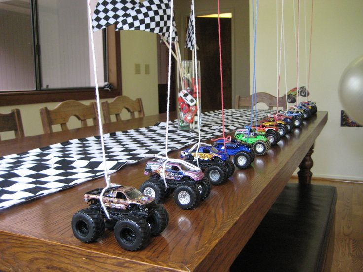great idea for balloon weights at a monster truck party or treat bag idea, could use hot wheel cars too instead of trucks.