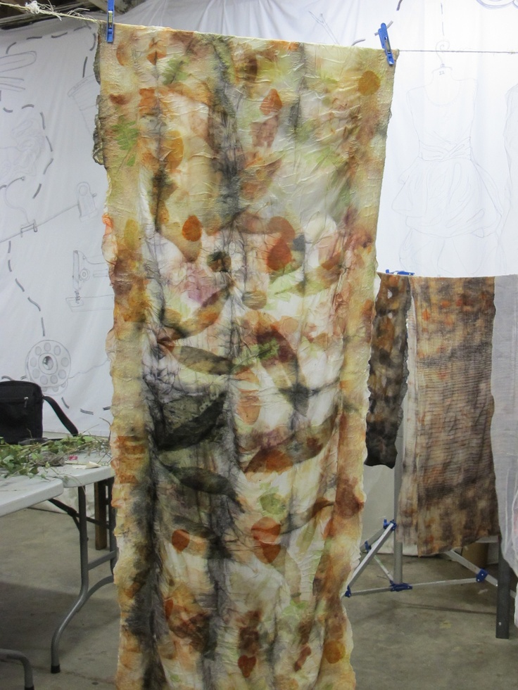Nuno felted wool,  sandwiched with silk paj and tissue silk