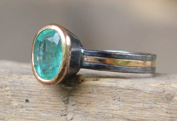 emerald, 22k gold, and oxidized sterling silver This man's work is just wonderful!