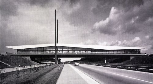 "Highway Restaurant ""Dammer Berge"" (1967-69) near Holdorf, Germany, by Paul Wolters"
