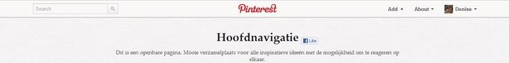 En de sticky balk van Pinterest dan.... Met zoeken links, logo midden, persoonlijk rechts
