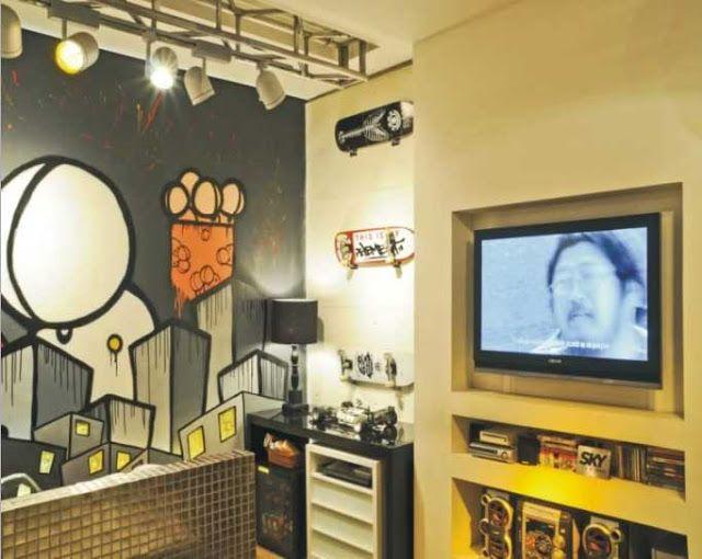 Dormitorio graffiti para jovencito dormitorios para ni os tem ticos diferentes m gicos - Cortinas de dormitorios ...