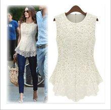 New 2015 Desigual Women Crop Top White Sexy Lace Blouses Plus Size Crochet Lace Women Tops Sleeveless Blusas Renda Shirts 5017(China (Mainland))