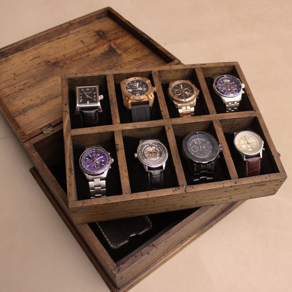 New Personalized Rustic Men's Watch Box for 8 by OurWeddingInvites