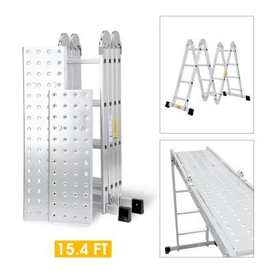 (FOLD LADDER PANEL) Finether 15.4 ft 4.7 m EN131 Scaffold Extendable Heavy Duty Multi-Purpose Folding Step Ladder Aluminum Folding Ladder with Safety Locking Hinges, Metal Panel, 4 Folds 16 Rungs, 330