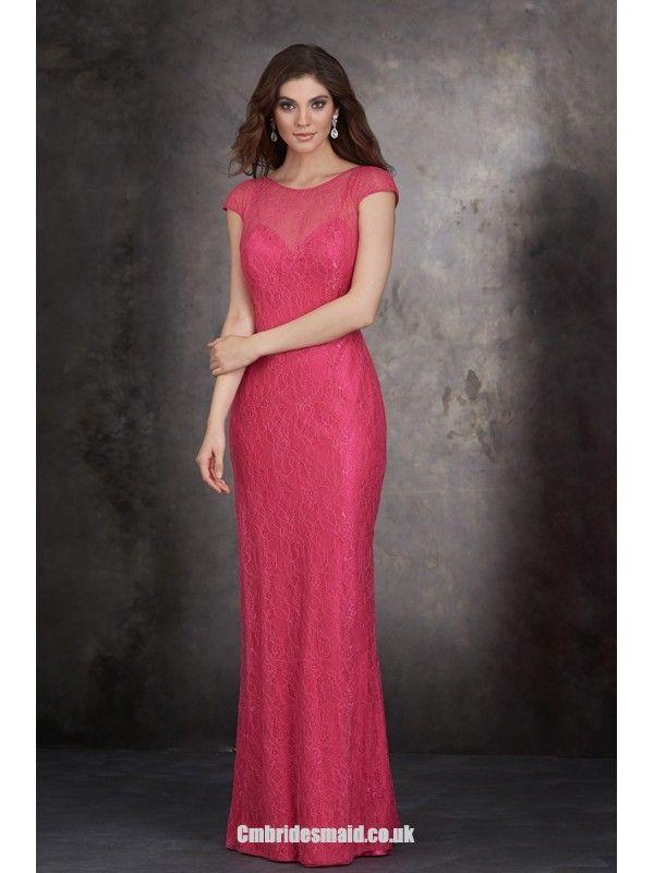 2014 Charming Women Long Uk Bridesmaid Dresses UK with Scoop,Sheath/Column,Lace Fabric,Floor-length, B2014112404 virgindress