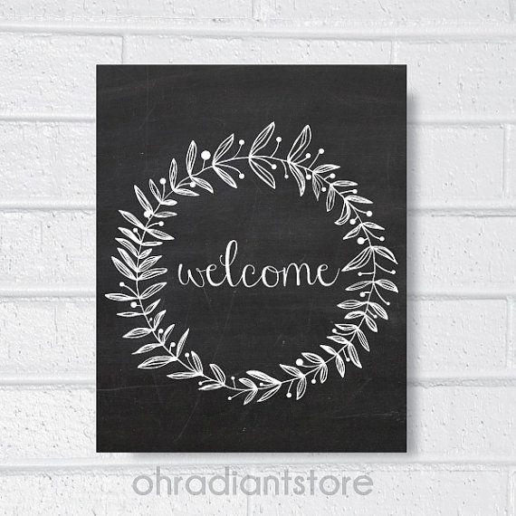 1. Welcome Sign Chalkboard Art Print , Home Decor, Wall Art