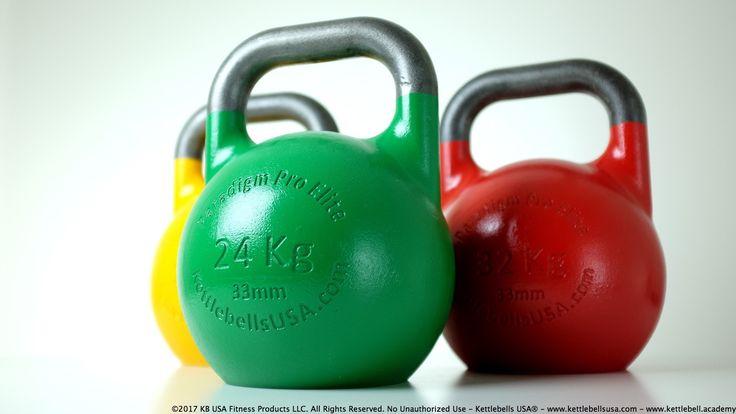 Paradigm Pro® Elite 33mm Precision Competition Kettlebell Kit 16 kg - 24 kg - 22 kg - Free Shipping - Kettlebells USA®