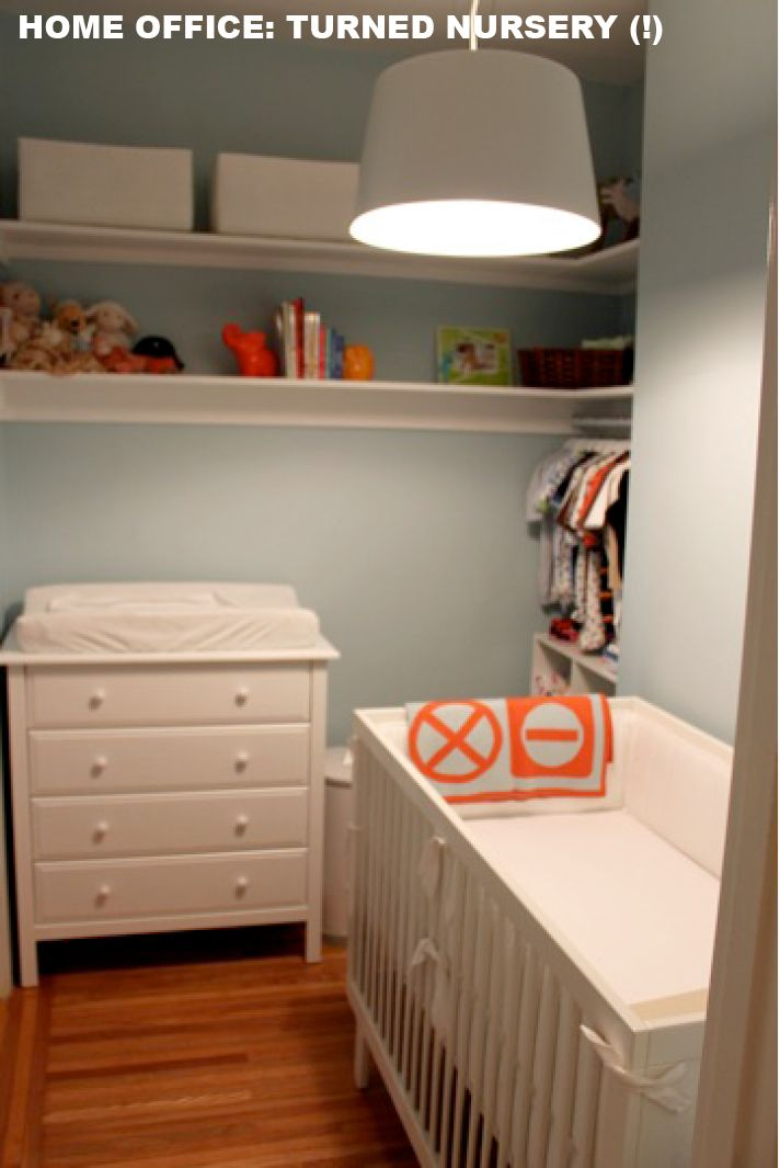 Tiny baby room walk in closet turned nursery pinterest small dresser offices and walk in Master bedroom plus nursery
