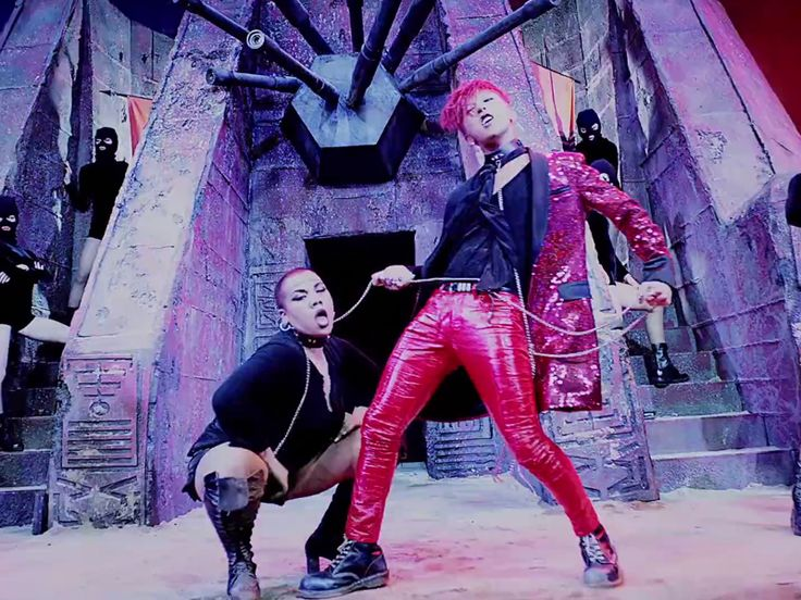 G-Dragon with Parris Goebel on a Leash