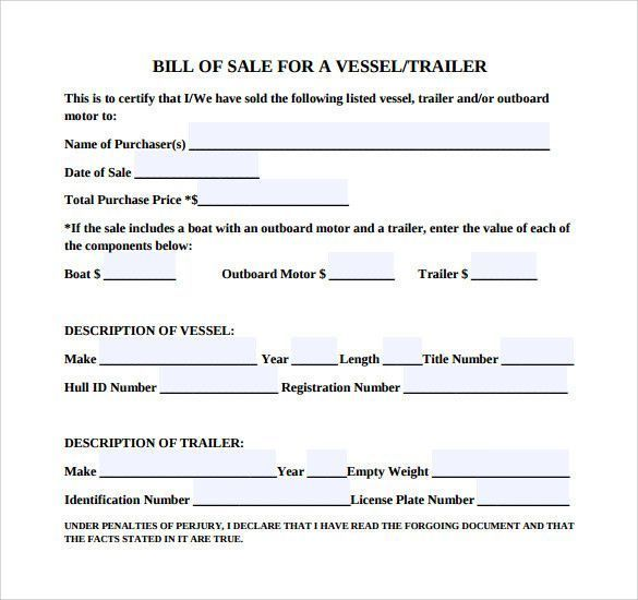 Trailer Bill Of Sale Template Popular Sample Boat Bill Of Sale Template 7 Free Documents In O Bill Of Sale Template Templates Free Design Free Trailer