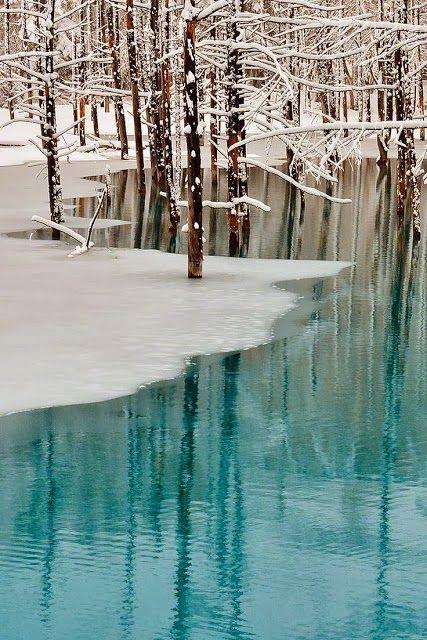 Blue Pond & Spring Snow, Hokkaido, Japan