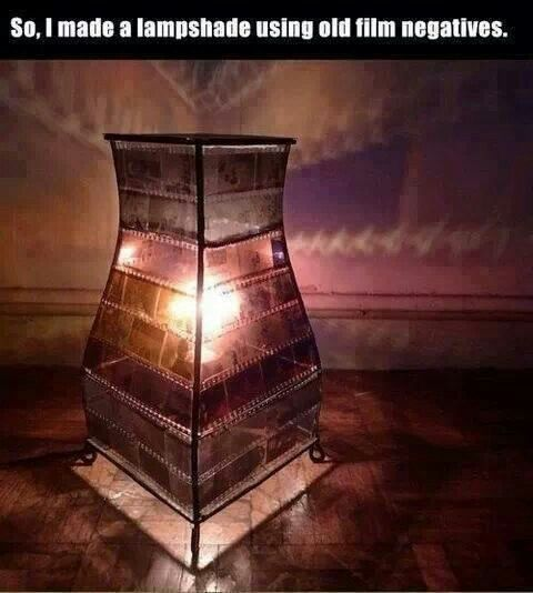 Old photo negatives turned in to a lamp! Awesome idea!
