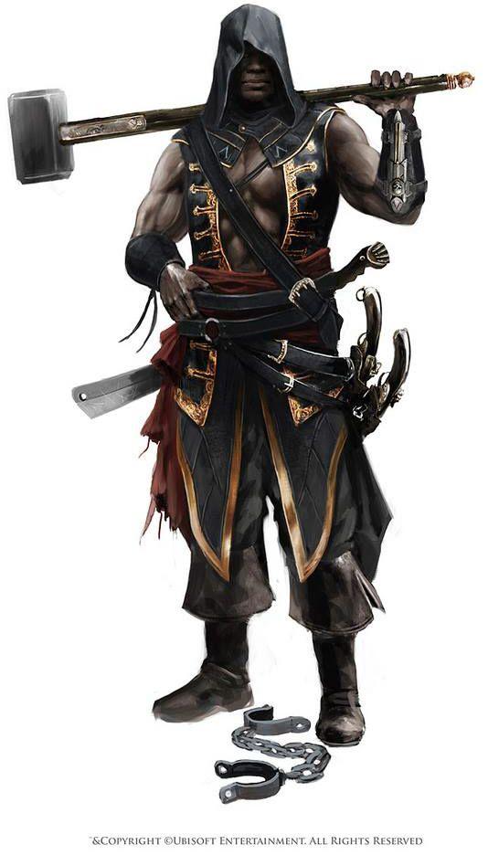 Jeu vidéo : Assassin's Creed : Black Flag / Concept art of Adéwalé as an Assassin    / http://assassinscreed.wikia.com/wiki/Ad%C3%A9wal%C3%A9/Gallery