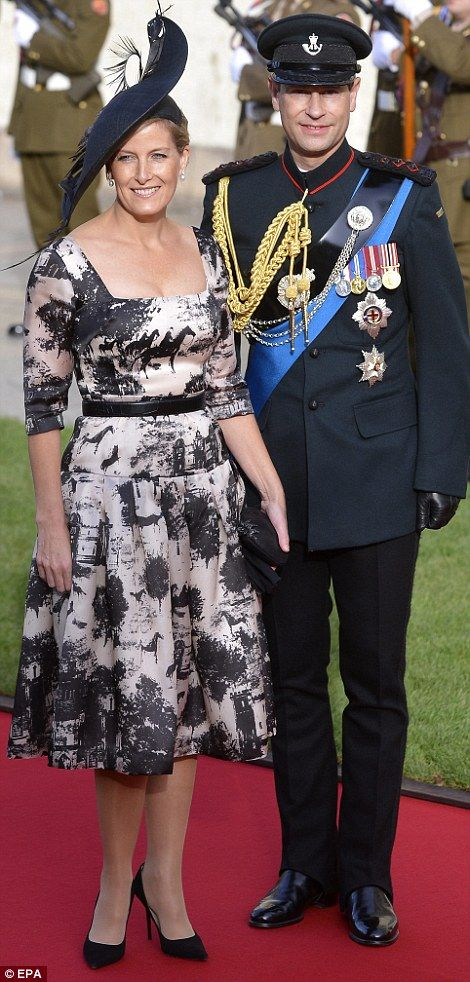 Prince Edward, Earl of Wessex and Sophie, Countess of Wessex were present to represent the British royal family. Sophie wore a bespoke hat by millinar Jane Taylor featuring black pheasant feathers