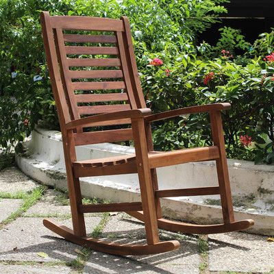International Caravan Acacia Palmdale Contemporary Outdoor Rocking Chair