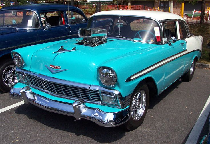 Turquoise Cars | 1956 Chevrolet Sedan--Turquoise & White--Dual Carbs