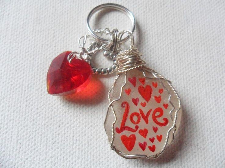 Love heart Valentine gift bag charm/zip pull hand painted art