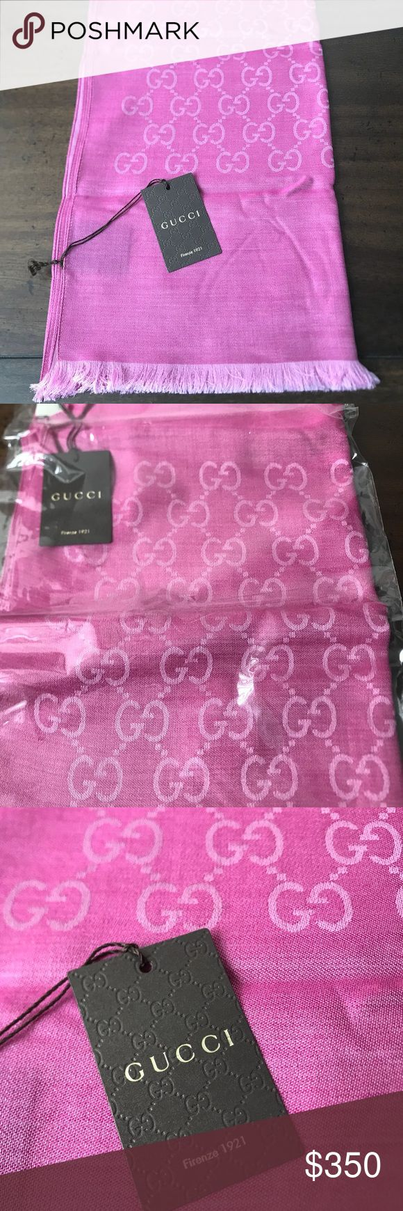 🔥LISTED TODAY🔥 Luxurious Gucci Scarf Gucci fans!! Feel free to drool over this beautiful scarf from Gucci (well, not literally)!! Isn't she a gem?! Harder to find shade of pink.  Made in Italy, 70% wool, 30% silk.  Great for year-round use.  Brand new, took out of sealed bag for pictures.  Smoke-free/pet-free.  45x 180 cm. Accessories Scarves & Wraps