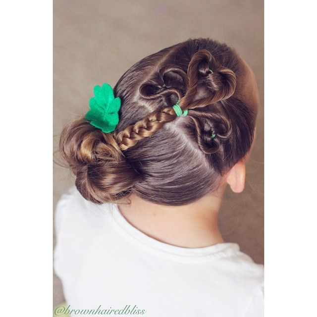 Brown Haired Bliss ~ Little girl hairstyles ~ Holiday hair , Happy St. Patrick's Day!! Big sis was so excited to get all * dolled up* today. I did a 3 leaf clover {3 upside flips into hearts} into a messy bun, and…""