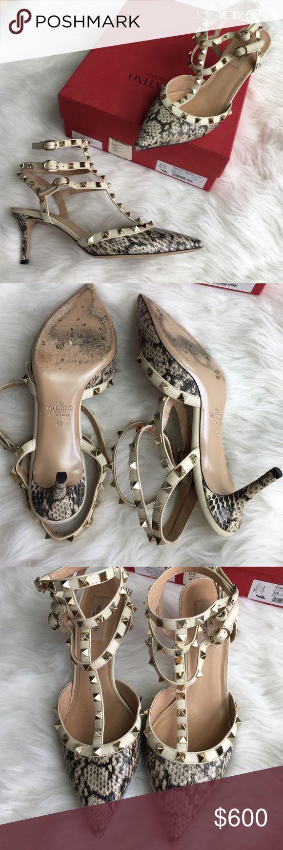 Valentino rockstud pumps Extremely rare Python kitten heel Valentino pumps in amazing condition Valentino Shoes Heels
