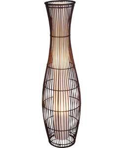 Sirit Rattan Floor Lamp - Dark Brown. £50