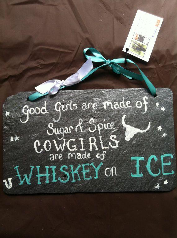 Decorative hangning slate sign Country sayings Western Saying on Slate Yard Decor Wall Decor Whiskey on Ice on Etsy, $25.00