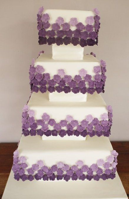 Kirsty 4 Tier Square Blocked Wedding Cake