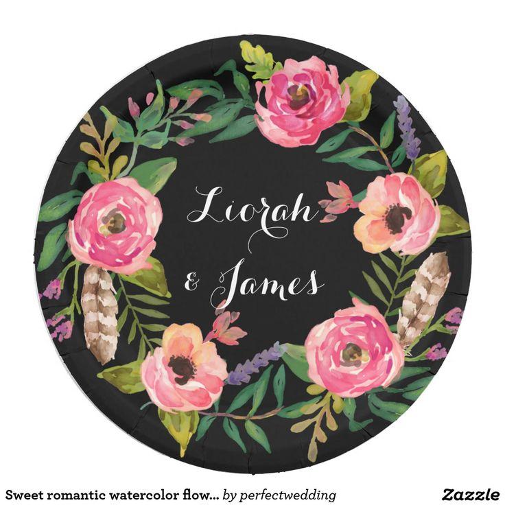 Sweet romantic watercolor flower 9 inch paper plate  sc 1 st  Pinterest & 113 best Wedding Paper Plates images on Pinterest | Wedding paper ...