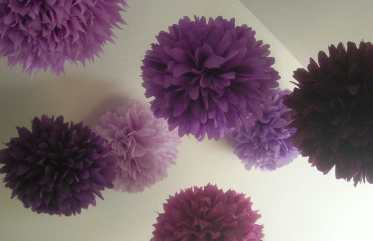 Mixed Up Purples ... 10 tissue paper poms // wedding reception // anniversary // graduation // bat mitzvah // party decorations