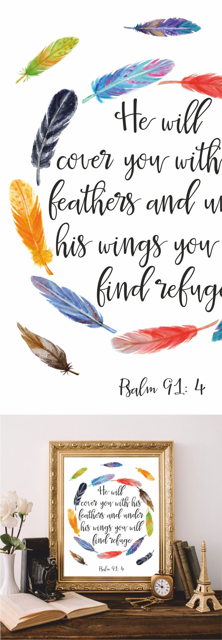 best 25 christian wall art ideas on pinterest christian art bible verse he will cover you psalm 91 4 christian wall art printable bible verse wall art bible quote scripture print watercolor feathers