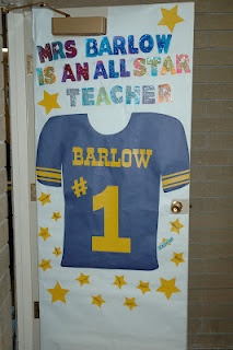 Blog post with several door decorations for teacher appreciation week.