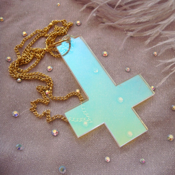 Black radiant or confetti acrylic inverted cross necklace for Radiant plexiglass