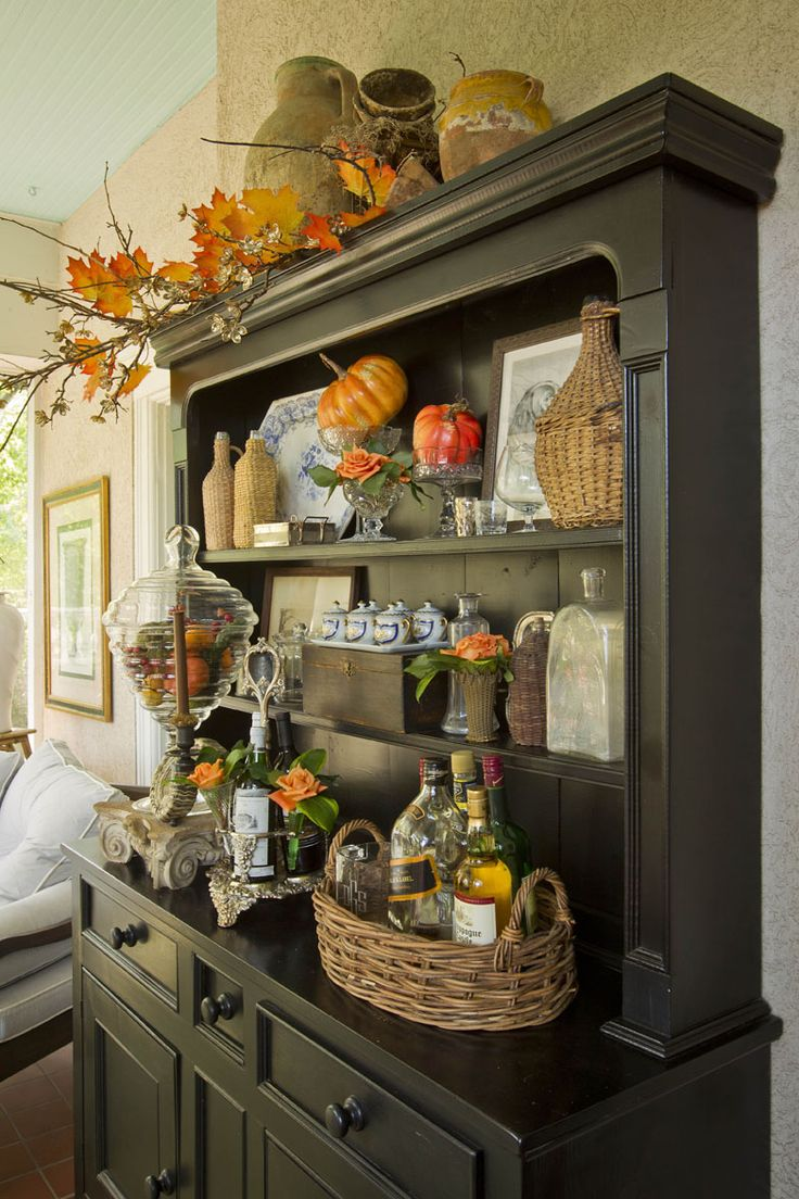 black hutch faux pumpkins kitchen hutch china cabinets cupboards fall decorations halloween decorations halloween crafts dining rooms - Fall Kitchen Decorating Ideas