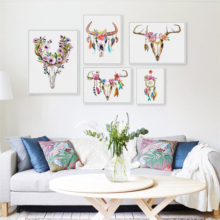 Skull Boho decoration with bright colors! WOW  -Canvas