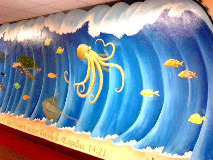 17 best images about childrens church room on pinterest for Children wall mural ideas