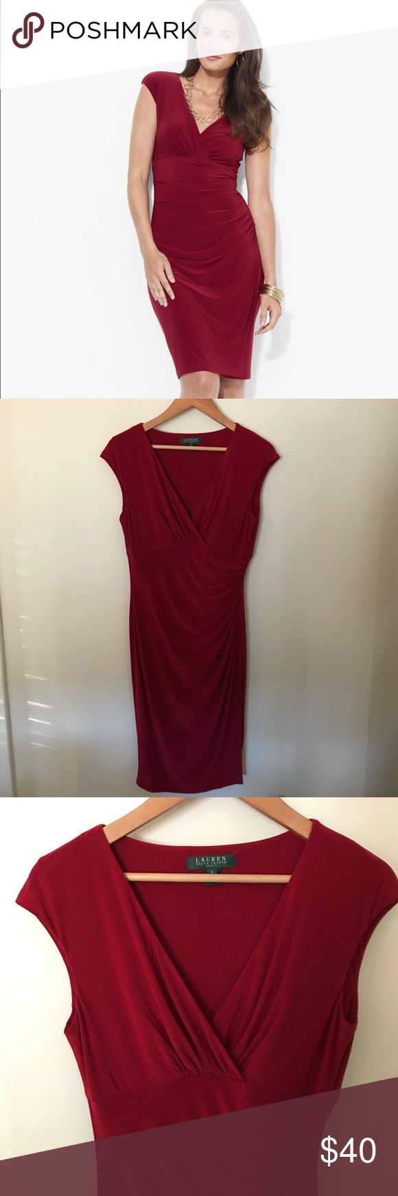 LAUREN Ralph Lauren Faux Wrap, Dark Red LAUREN Ralph Lauren dark red elegant jersey dress. Flattering style & fit with criss-cross neckline with horizontal seam below it, ruching on one side in front with faux wrap. This dress hangs beautifully. Excellent condition, no flaws. All clothes in my listings are clean & I also freshly wash ea before packaging unless NWT or NWOT. Posh Ambassador, 5⭐️avg rated, ship quickly! Lauren Ralph Lauren Dresses