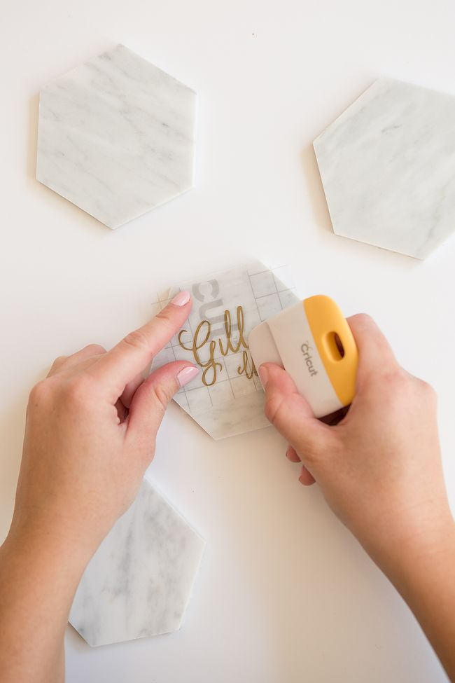 DIY Calligraphy Marble Place Cards With Cricut